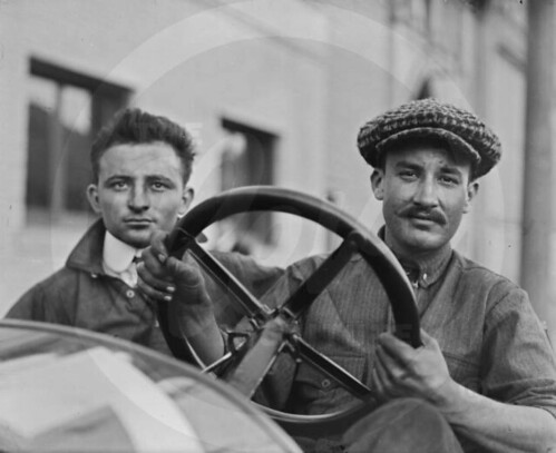 Carlson - A young Billy Carlson (right) with unknown person sitting in riding mechanic seat