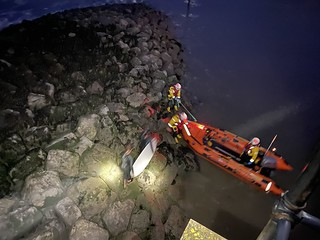 Porthcawl RNLI rescue two surfers from rocks at the marina entrance