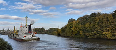 Photo of 20th October 2020.  Sospan Dau on the Manchester Ship Canal at Irlam, Salford, Greater Manchester.