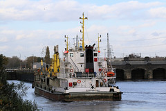 Photo of 20th October 2020.  Sospan Dau entering the locks on the Manchester Ship Canal at Irlam, Salford, Greater Manchester.