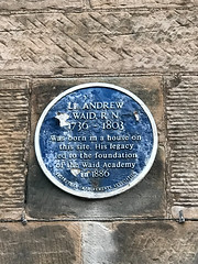Photo of Plaque: Birthplace of Lieutenant Andrew Waid RN, 1736 – 1804