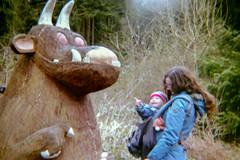 Photo of Gruffalo, Molly (pointing) and Jodie