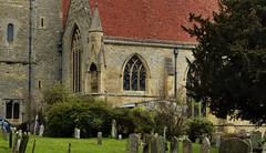 Photo of South aisle and churchyard, Dorchester Abbey, Dorchester-on-Thames, Oxfordshire, England