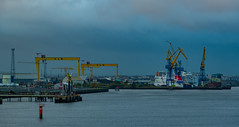 Photo of The Samson & Goliath Cranes @ the old H&W Ship yard Belfast were Titanic was Built. With the Stena Superfast V11 in the Dry Dock 22/10/2020.