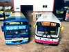 Y182 BGB in both Hutchison of Overtown & First Glasgow liveries. 1:76 scale, Code 3 EFE models.