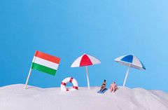 Flag of Hungary on the beach