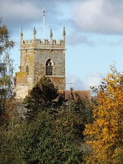Photo of Wappenham Church Tower from the East, Northamptonshire, 11 October 2020