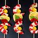 Shrimp with tomatoes, bell pepper, lemon and basil leaves