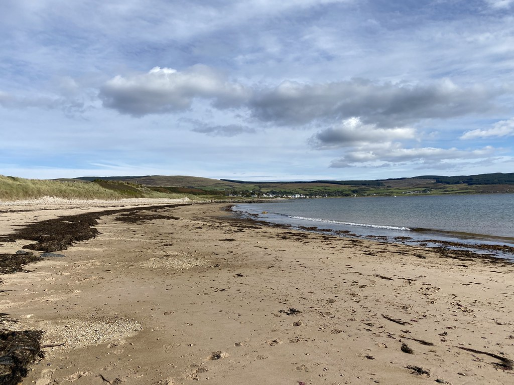 The beach, with Blackwaterfoot at the end