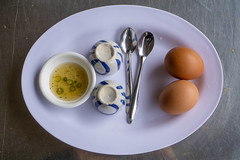 Vietnamese Creamy Boiled Egg - Trung Ga La Cot on a Plate with Fish Sauce