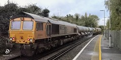Photo of GBRF 66741 trails 66722 through Aylesford station on 3W75