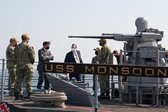 Secretary of Defense Dr. Mark T. Esper tours USS Monsoon (PC 4) during a visit to NSA Bahrain.