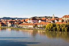 Drava river and Lent in Maribor Slovenia