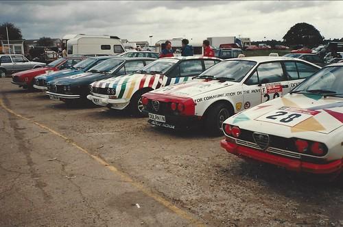 Alfettas galore in the Snetterton Paddock