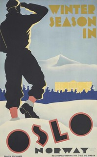 Bert Huszár (1878–1935) WINTER SEASON IN OSLO lithograph, 1935