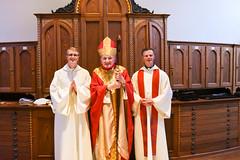 Bishop Zubic, Rev. Mazich OSB and Cory Pius at St. Vincent, Latrobe 10/30/2020.  Photo credit St. Vincent Archabbey