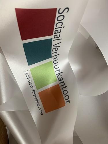 100mm wit openingslint met fullcolor bedrukt