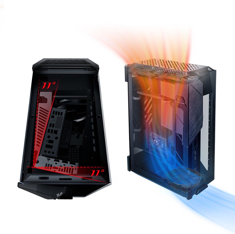 「ROG Z11」將主機板位置傾斜11度,打造前所未見的最佳化氣流與散熱效能,為高階玩家展現強悍實力!