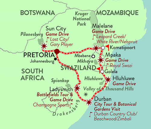 Rovos Pride of Africa Golf Safari Map