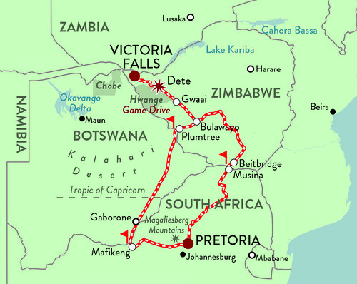 Rovos Pride of Africa Victoria Falls Journey Map