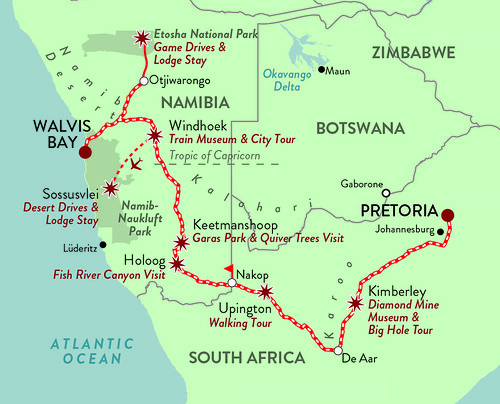 Rovos Pride of Africa Namibian Safari Map