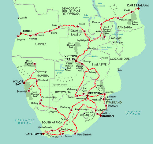 Rovos Pride of Africa All Routes Map