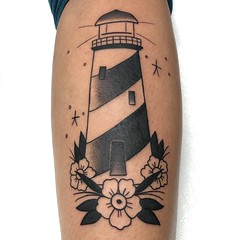 Lighthouse tattoo from original flash by Wes Fortier