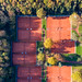 Bird View Drone Photo of Sand Tennis Courts of Marienburger Sport-Club 1920 e.V. at Forest Botanical Garden And Friedenwald in Cologne, Germany
