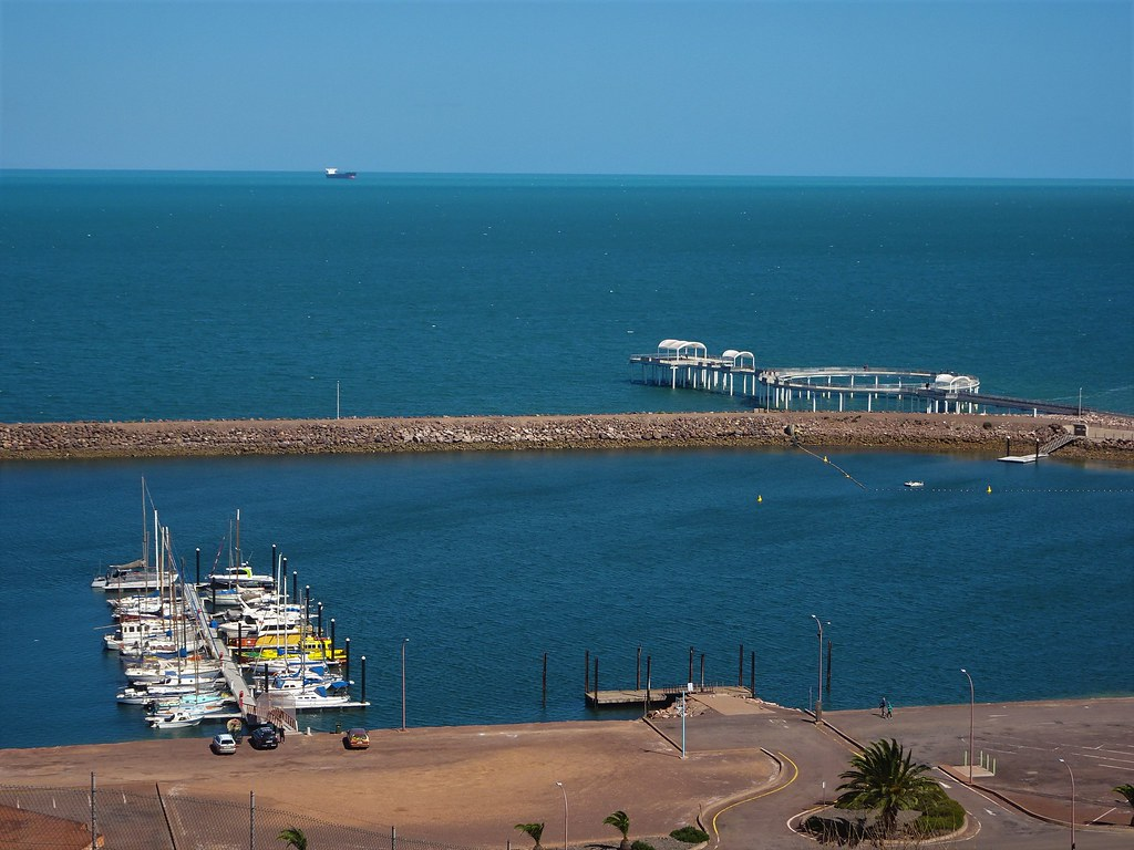 Whyalla. Boats in the marina and the new orund jetty beyond.
