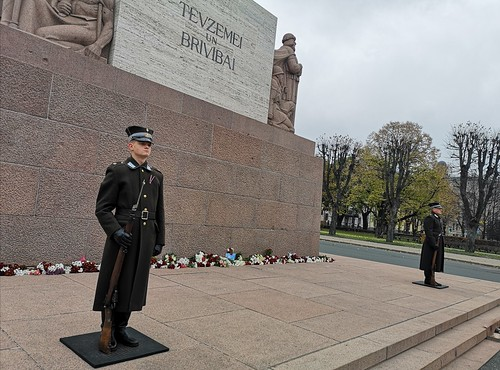 Honour Guard at Freedom Monument in city core of Riga, Latvia. November 14, 2020