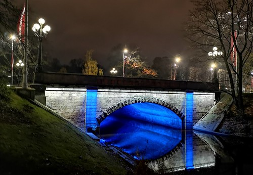 Independence Square bridge over the city canal in central Riga, Latvia. November 13, 2020