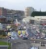 Tram works between Ocean Terminal and Newhaven, Edinburgh.
