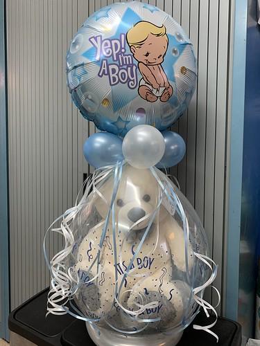Kadoballon Geboorte Baby It's a Boy met een Folieballon bovenop  Babyshower