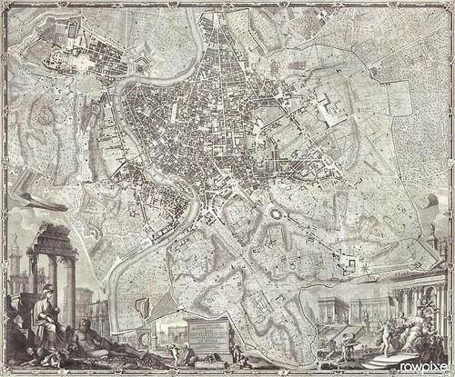La pianta grande di Roma (The Large Plan of Rome), also known as The Nolli Map by Pietro Campana, Carlo Nolli, and Rocco Pozzi. Original from Yale University Art Gallery. Digitally enhanced by rawpixel.