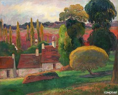 A Farm in Brittany (ca. 1894) by Paul Gauguin. Original from The MET Museum. Digitally enhanced by rawpixel.