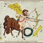 Sidney Hall's (?-1831) astronomical chart illustration of Sagittarius and Corona Australis, Microscopium and Telescopium. The centaur Sagittarius with bow and arrow, telescope and microscope forming the constellation. Original from Library of Congre thumbnail