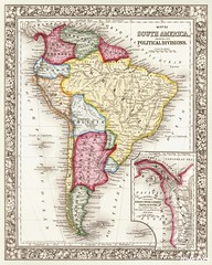 Map of South America, showing its political divisions; Map showing the proposed Atrato-inter-oceanic canalroutes, for connecting the Atlantic and Pacific oceans (1863) by Samuel Augustus Mitchell. Original From The New York Public Library. Digitally enhan