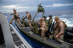 U.S. Marines participate in visit, board, search, and seizure training with Netherlands Marines.