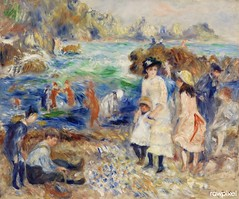 Children on the Seashore, Guernsey (Enfants au bord de la mer à Guernesey) (1883) by Pierre-Auguste Renoir. Original from Barnes Foundation. Digitally enhanced by rawpixel.