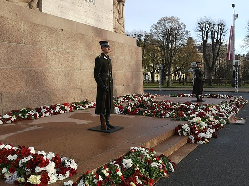 Honour Guard at Freedom Monument in city core of Riga, Latvia. November 21, 2020