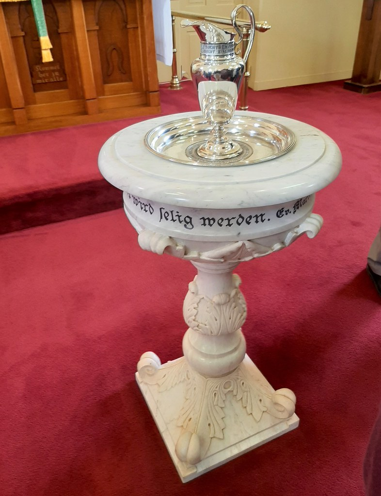Point Pass near Eudunda. The marble baptismal font of the Immanuel Lutheran Church built in 1876. Note the German script on the font.