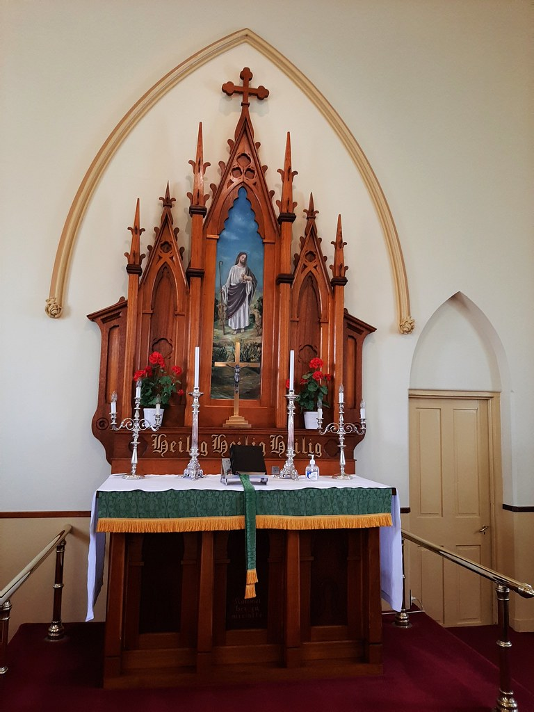 Point Pass near Eudunda. The fine wooden altar and painting of the Immanuel Lutheran Church built in 1876.