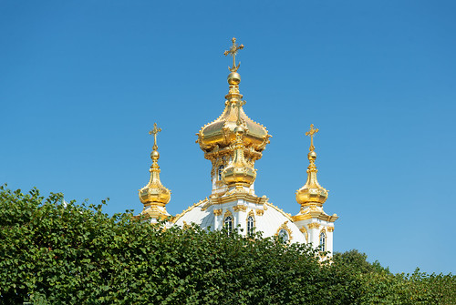 Gold and Green. Domes of Peterhof