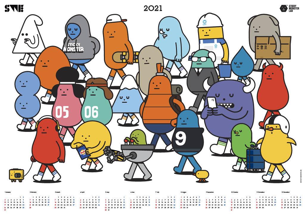 黏黏怪物大集合 走向新世界_2021年曆