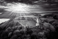 Rays of Light above Llansteffan Castle
