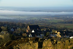 Photo of Mow Cop looking across Cheshire