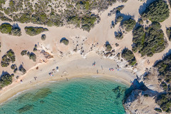 Top down aerial of the southern part of Hawaii Beach on Naxos Island, Greece