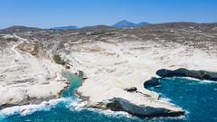Aerial view of the landscape near Sarakiniko Beach on Milos Island, Greece