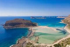 Aerial view of Balos Beach and Lagoon on Crete, Greece