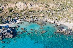 Aerial view of natural swimming pools near Paralia Kedrodasos on Crete, Greece
